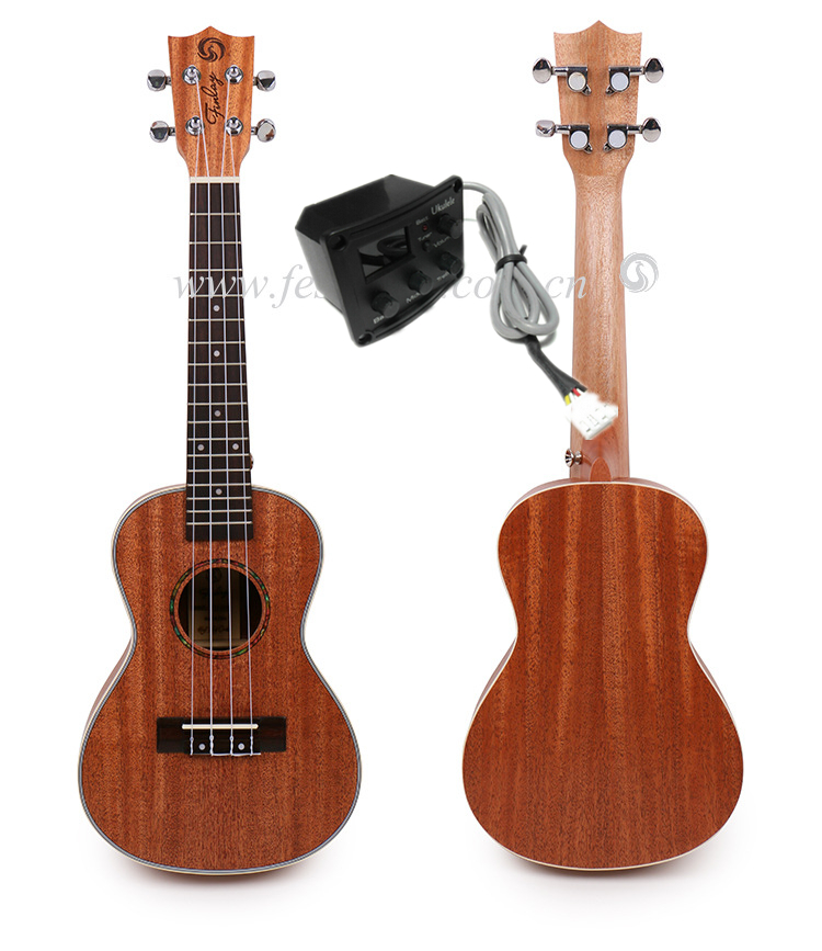 "Free shipping 24"" Concert ukulele With Full Mahogany Top/Body ukulele 23,Hawaii ukelele guitar With 2 band LCD pickup"