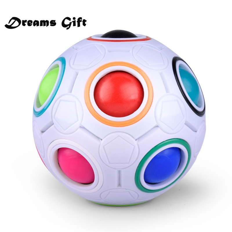 Creative Magic Cube Ball Antistress Rainbow Football Puzzle Montessori Kids Toys for Children Stress Reliever Toy JY70(China)