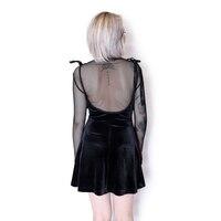 Vestiti Dalle donne Sexy Backless Velvet Scollo A V Fessura del Lato del Vestito Disegno Femminile Sling Mini Una Linea Vestito