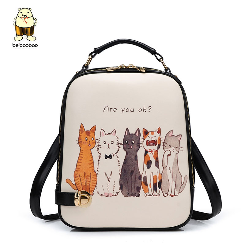 Beibaobao Good Quality PU Leather Girl's School Bag Cartoon Printing Backpacks For Teenage Girls Young Women Backpack B240