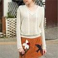 Spring hollow out pullover mujeres suéter de alta calidad de cuello en V manga larga color puro de la manera floja de punto camisas de las señoras E346