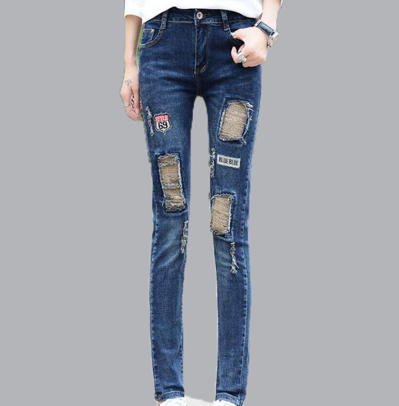 Spring Ripped Skinny Jeans Hole High Waist Patchwork Mid Waist Slim Blue Pencil Denim Pants Casual