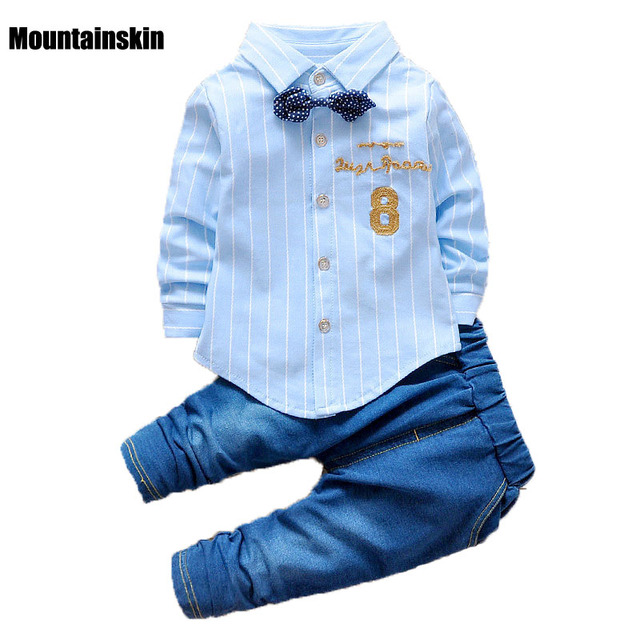 2PCS Spring Baby Boys Clothing Sets Casual Kids Bow-Tie Shirts+Jeans 12M-4Y Childrens Clothing Brand Boys Tracksuit Sets SC774