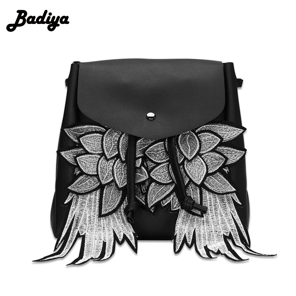 Women Wings Decorated Drawstring Backpack PU Leather Shoulder Bag For Girls School Bags Female Mochila promotion dual use women shoulder bag backpack japan korean style girls pu leather college students school bags mochila