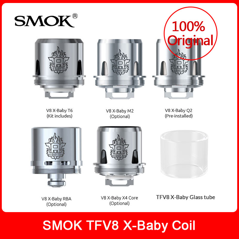 Original SMOK TFV8 X-Baby Coils TFV8 X-Baby Q2/M2/RBA/X4/T6 + Glass Tube For Smok Tfv8 X Baby Tank Electronic Cigarette Vape Kit