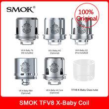 Oryginalny SMOK TFV8 X-dziecko cewki TFV8 X dla dzieci-Q2 M2 RBA X4 T6 + szklana rurka dla smok tfv8 x zbiornik dla dziecka zestaw vape do elektronicznego papierosa tanie tanio TFV8 X-Baby Atomizer Head TFV8 X-Baby Tank 0 4ohm (40-70W BEST 50-60W) 0 25ohm 0 35ohm 0 13ohm (30-70W BEST 45-60W)