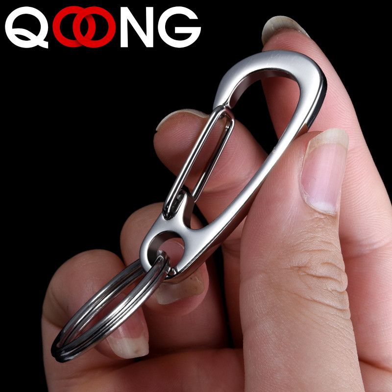 QOONG Custom Engraved Keychain For Car Logo Name Stainless Steel Personalized Gift Customized Anti lost Keyring Key Chain Ring in Key Chains from Jewelry Accessories