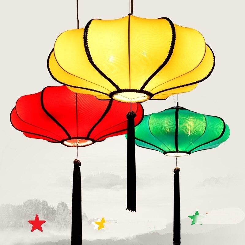 Chinese New Pendant Lights Zen creative restaurant lantern Club retro hotel restaurant Iron Pendant Lamps multicolor cloth a1 chinese new classical imitation cloth umbrella pendant lamp lantern restaurant balcony aisle club creative zs136
