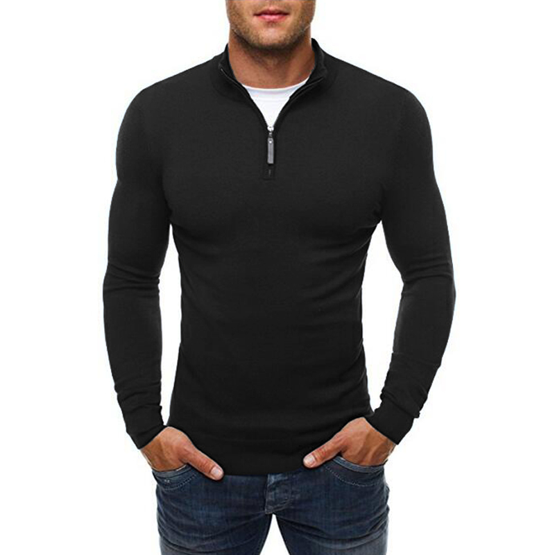 Mens knitted sweaters 2017 New Keep warm Casual pullovers sweaters Turtleneck zipper sweaters Slim solid color