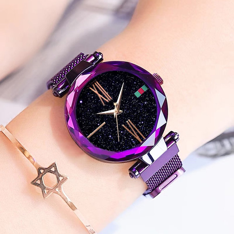 Ladies Casual Watch 2019 Luxury Purple Women Watches Fashion Minimalist Starry Sky Magnetic Watch Waterproof Female Wristwatch