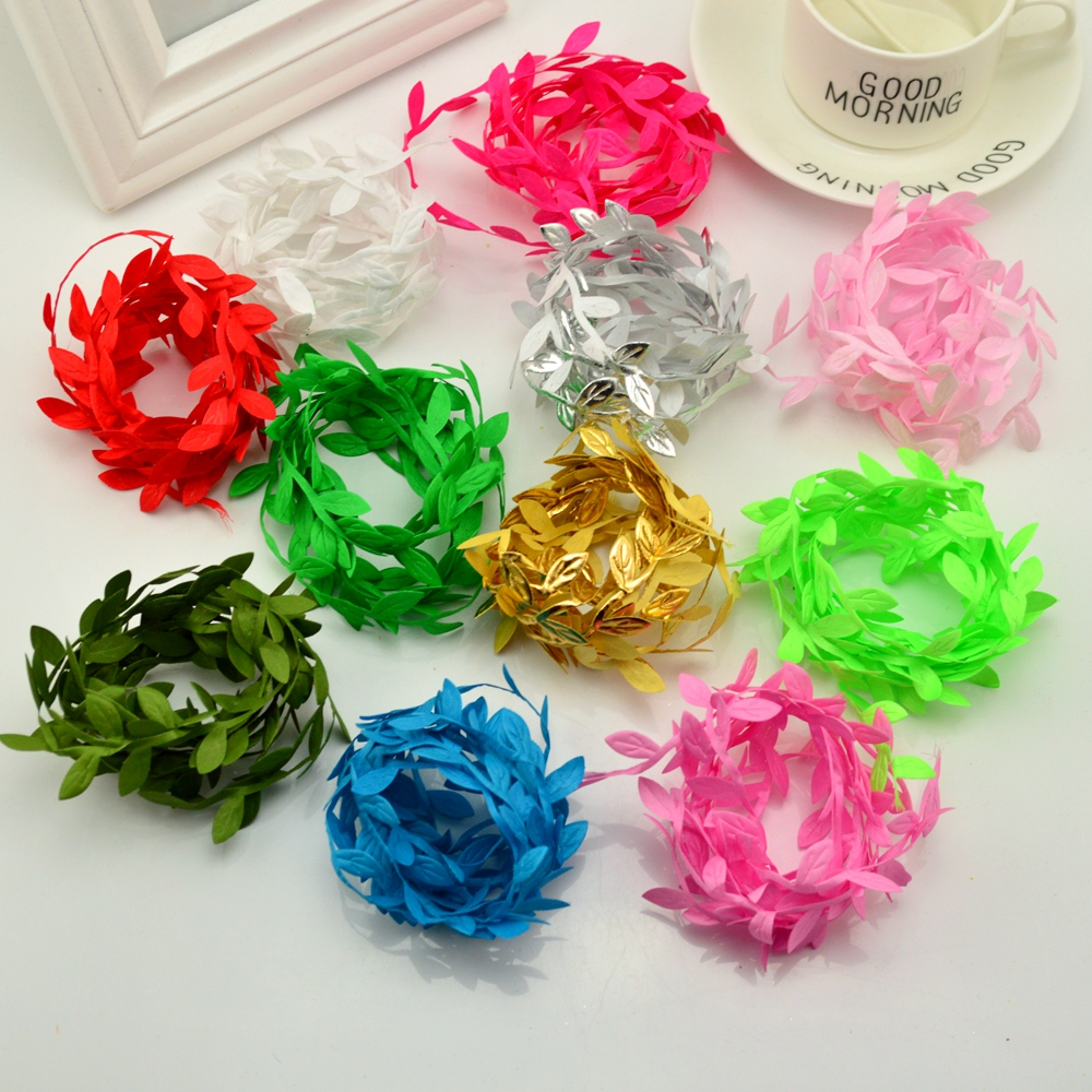 200cm/lot 11colors flower size Artificial green leaves rattan garlands DIY accessories for home decoration Leaves vine