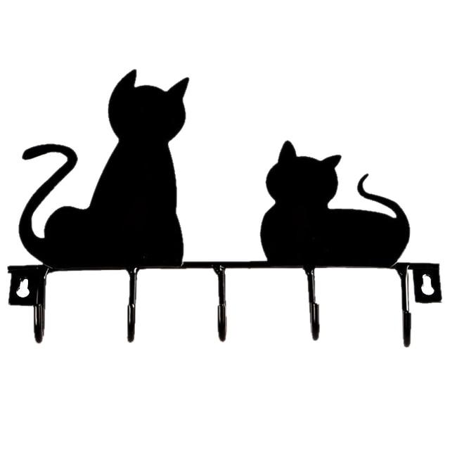 5x Black cat design Metal Iron Wall Door Mounted Rustic Clothes Coat hat key hanging Decorative Wall Hooks Robe Hanger