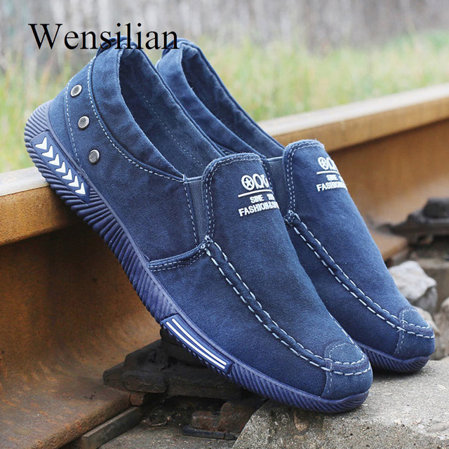 Summer Men Running Shoes sport Denim Canvas Shoes Sneakers athletic Slip On walking Loafers Male zapatillas hombre deportiva(China)