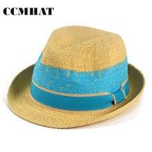 Ccmhat verano mujeres Sol sombrero 100% papel Floppy Hat para hombres  patchwork beige Niñas chapeau a627a280183