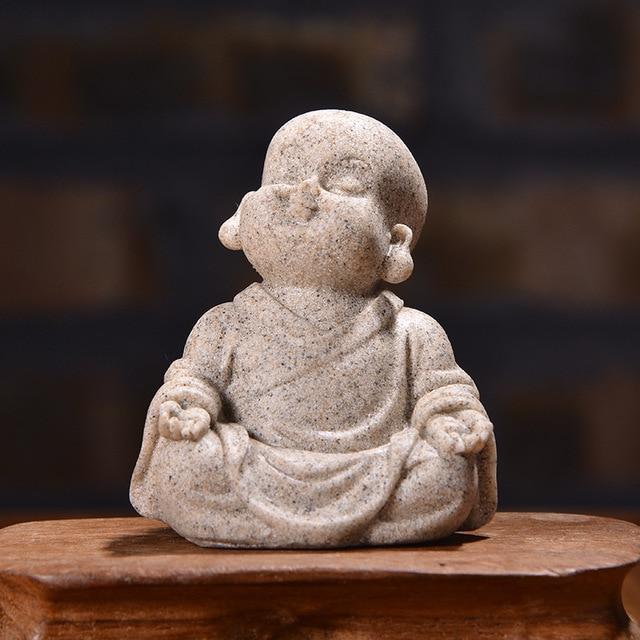 VILEAD 6cm 7cm Cute Little Monk Statue Sandstone Adorable Thailand Buddha Statuettes Lovely Figurine Home Decor Creative Gift 4