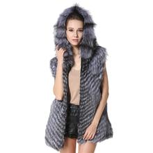 MEEFUR 2017 Classic Womens Real Fur Hoodie Vests Genuine Silver Fox Fur Long Waistcoats Winter Long Sleeveless Overcoat LX00960