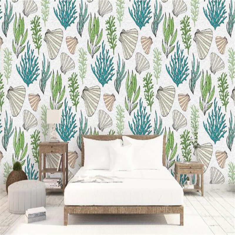 Nordic Wallpapers Photo Murals White Shell Wallpaper Roll Sea Creatures Wallpapers for Living Room Hand Drawn Simple Wall Paper shinehome skyline sea wave sunset seascape wallpaper rolls for 3d walls wallpapers for 3 d living rooms wall paper murals roll