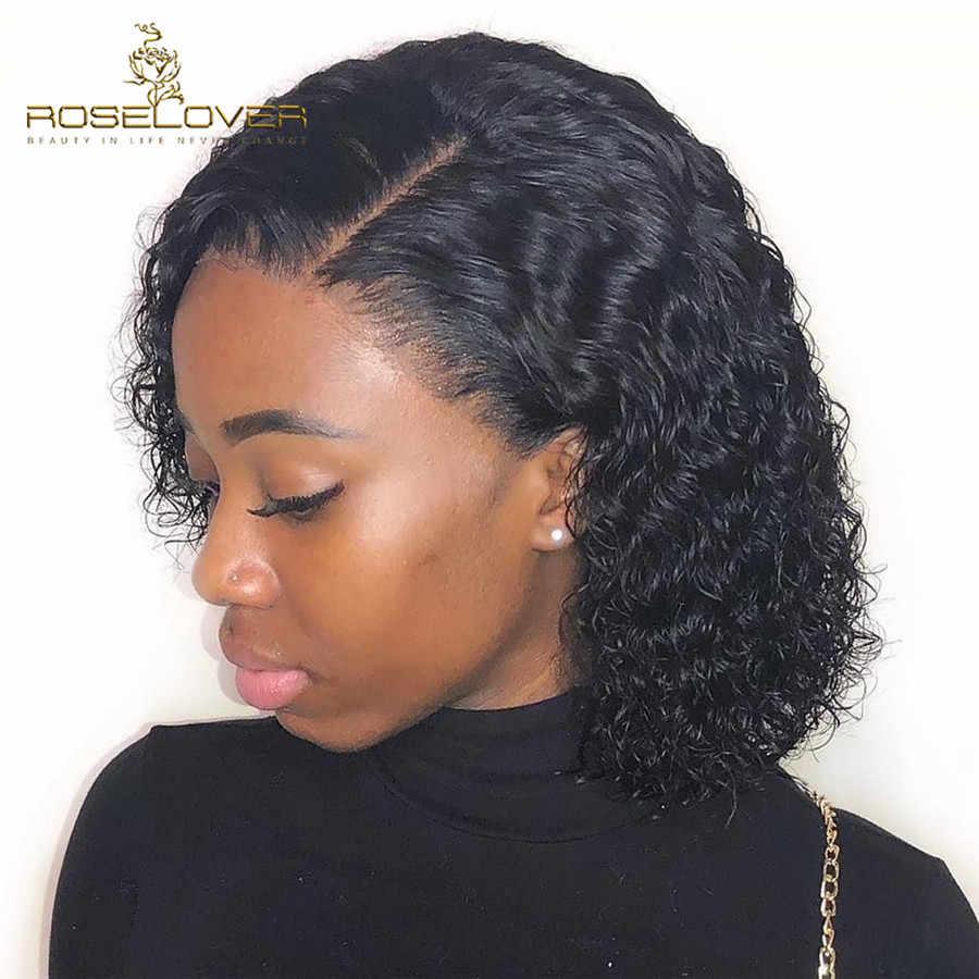 Глубокий пробор кудрявые человеческие волосы парик влажные и волнистые 13*6 кружевные передние человеческие волосы парики короткий боб парик предварительно сорванные бразильские волосы remy
