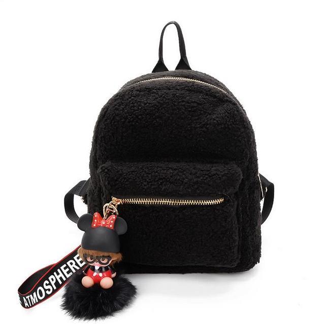 Women Fabric Women Backpack Fluffy doll Shoulder Bag Small Rucksack Women  Shopping Bags cute Mochila feminine 18b8347860