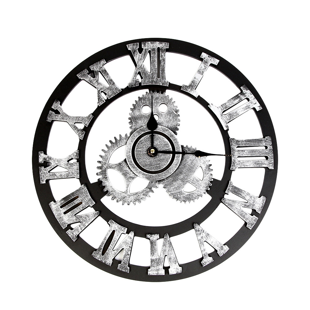 Large Wall Clock Industrial Style Vintage Clock European Steampunk Gear Wall Home Decoration Modern 3d Wall Clock