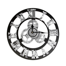 Vintage Clock Steampunk-Gear Home-Decoration Industrial-Style Large Modern European 3d