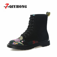 New QIYHONG Women Ankle Boots Shoes Woman Spring Fall Hand Embroidered Shoes Lace Up Land Shoes
