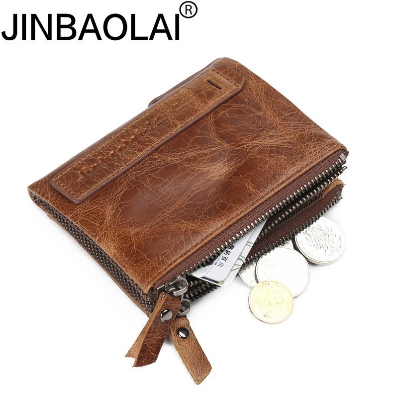 JINBAOLAI New Genuine Crazy Horse Cowhide Leather Mens Wallet Short Coin Purse Small Vintage Wallets Brand High Quality Designer 2017 genuine cowhide leather brand women wallet short design lady small coin purse mini clutch cartera high quality