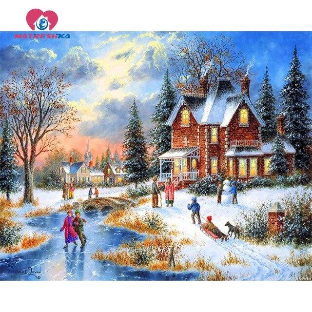 Алмазная вышивка Пейзаж Зима 5D поделки алмазов картина кристалл фотографии Стразы Вышивка крестом картина модульная