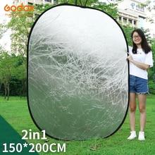 Godox 2in1 150X200ซม.สีทองและสีเงินรูปไข่Multi Disc Reflectorพับสตูดิโอถ่ายภาพแสงDiffuser reflector
