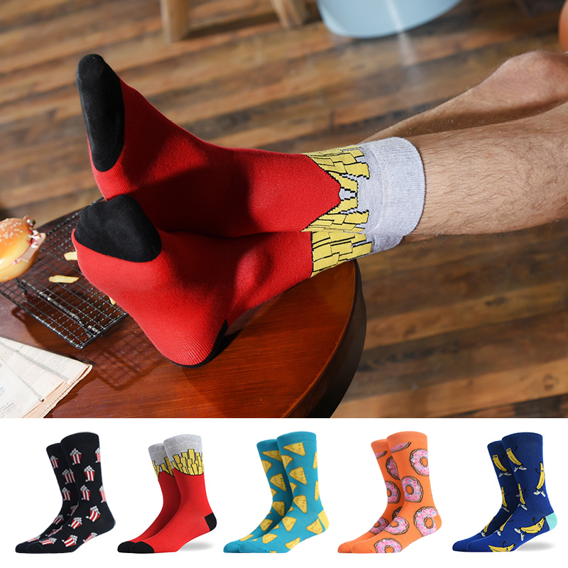 New Casual Combed Cotton Men's Crew Socks Tend Street Hip Hop Funny Socks Colorful French Fries Pizza Pattern Wedding Socks