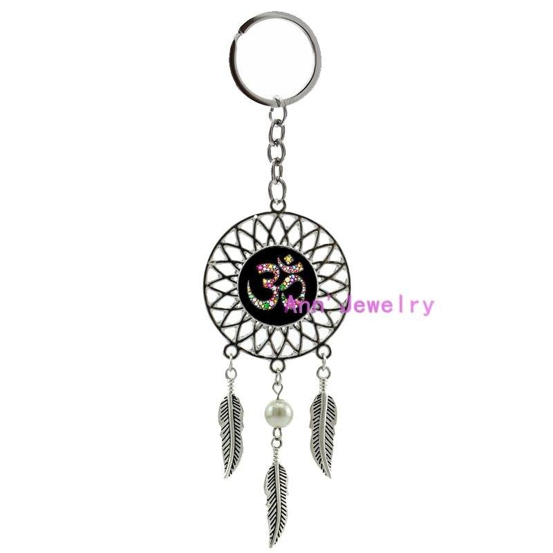 481-Om Ohm Aum Namaste Yoga Symbol keychain Om dreamcatcher Yoga feather Namaste, custom wedding indian groom tie bars or set