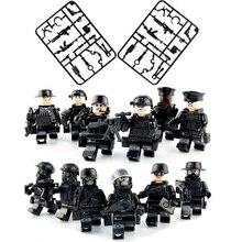 12 unids/set equipo militar SWAT figura Legoinglys ciudad policía modelo kits de bloques de construcción ladrillo juguetes para niños