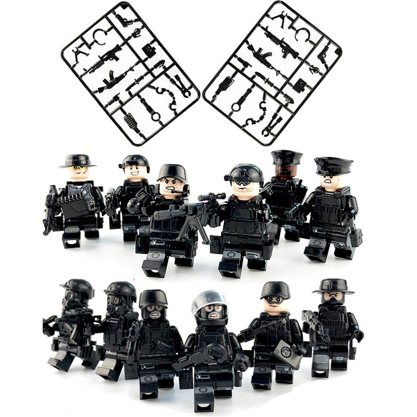 12pcs/set Military SWAT Teams Figure Bloques City Police Weapon Model Building Blocks Kits Brick Toys For Children Kids