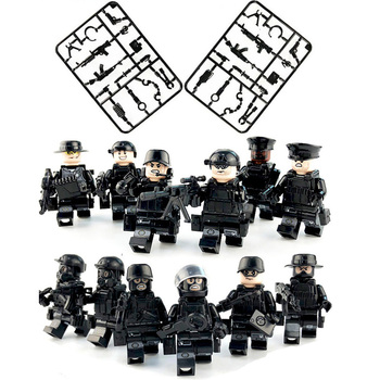 12pcs/set Military SWAT Teams Figure Legoinglys City Police Weapon Model Building Blocks kits Brick Toys for Children kids