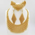 2017 New design Fashion Italy 750 Jewelry BIG  Set  Gold Plated Nigerian Wedding African Beads Jewelry Parure Bijoux