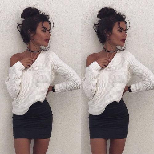 Women Summer Long Sleeve Loose Clubwear Party Sweater Jumper Cardigan Off Shoulder New Hot Casual Coat