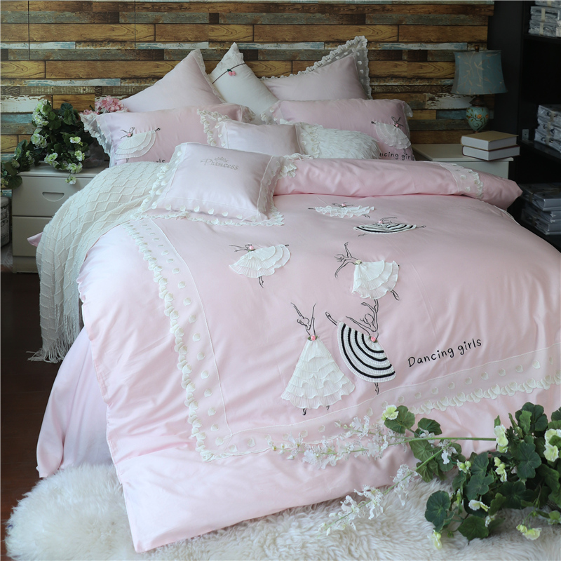 Luxury Egypt Cotton Dancing Girls Lace Bedding Set Embroidery Silky Duvet Cover Bed Sheet Pillowcases Queen King Size 4/6/7Pcs