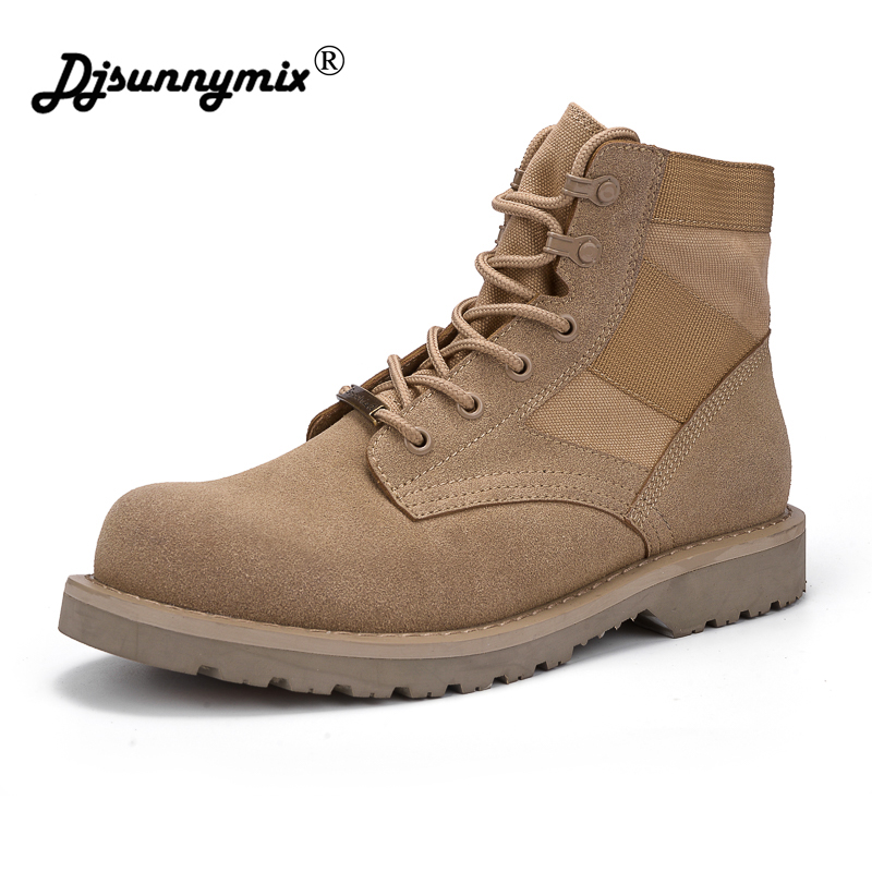 DJSUNNYMIX Brand Men Boots Spring Autumn canvas breathable Man Shoes Ankle Boot Mens Shoe for Work