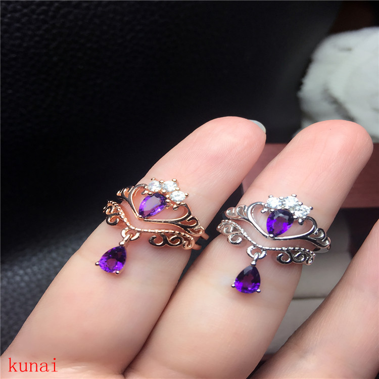 KJJEAXCMY fine jewelry 925 Silver inlaid with natural amethyst ring jewelry. kjjeaxcmy fine jewelry 925 sterling silver inlaid natural amethyst ring wholesale opening ladies adjustable support testing