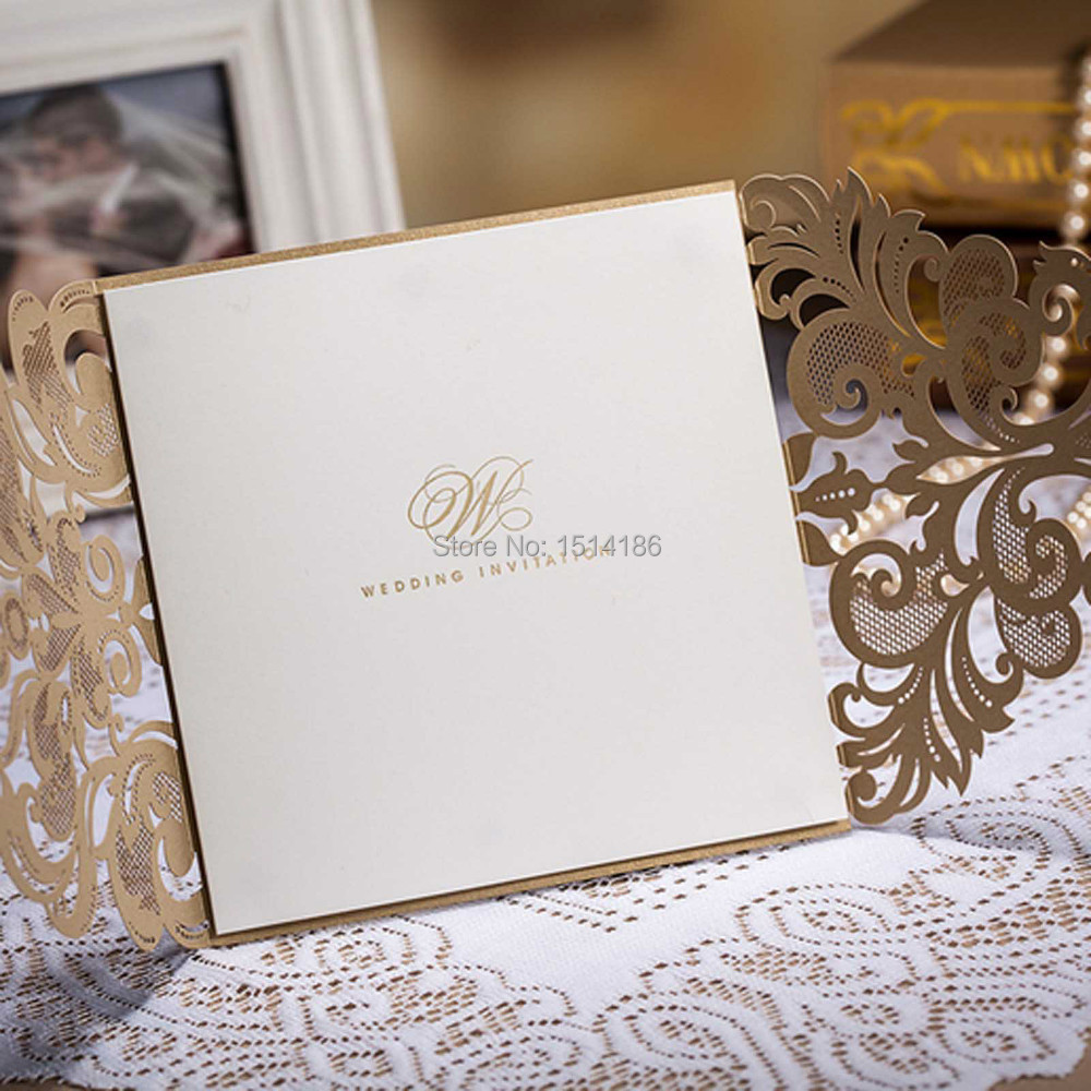 50Pieces Wedding Invitation Card Laser cut Flower Gold Personalized ...