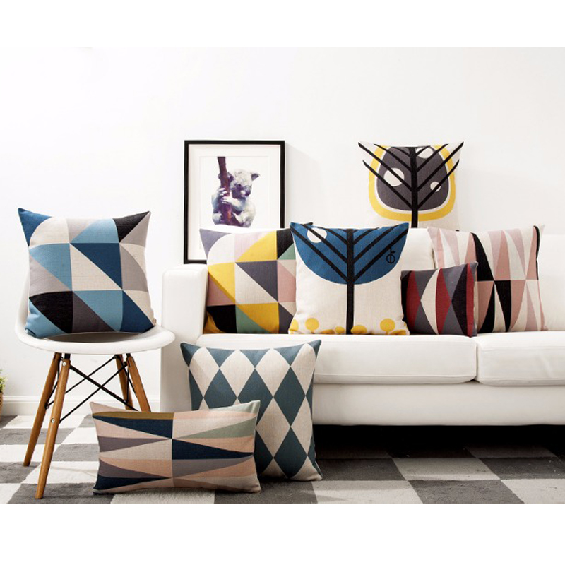 Contemporary Sofa Geometric Pillows: Scandinavian Style Seat Cushion Pillow Cover Modern