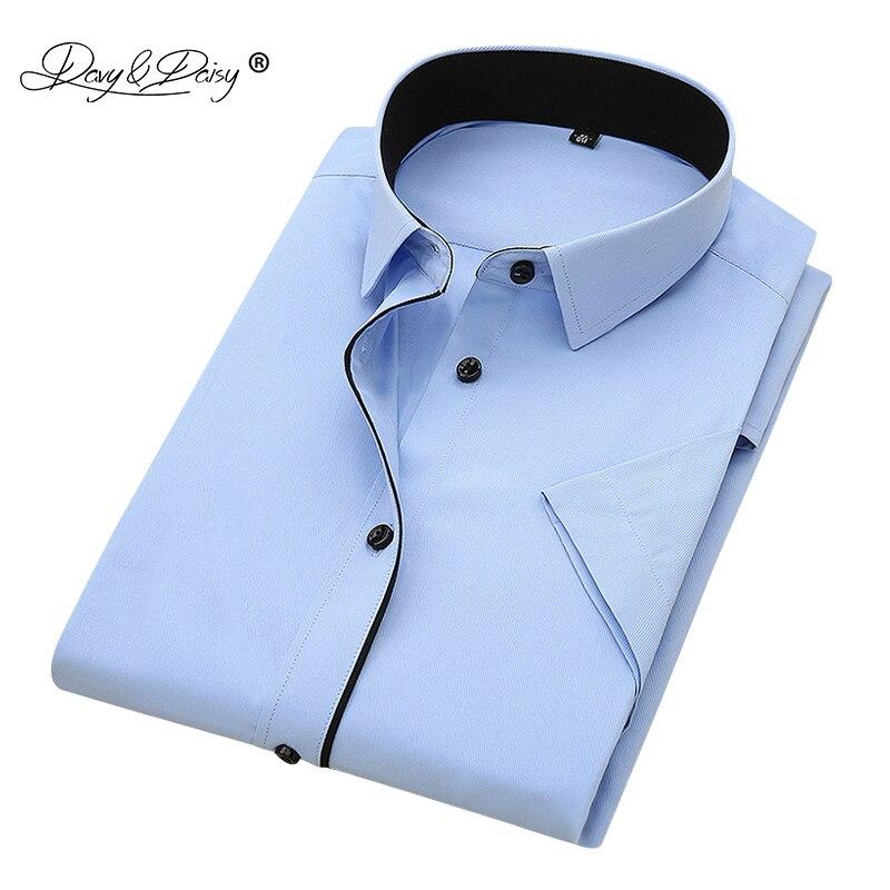 DAVYDAISY 2018 New Summer Hommes Chemise À Manches Courtes De Mode Solide Sergé Mâle Chemises Formelle D'affaires Blanc camisa masculina DS249