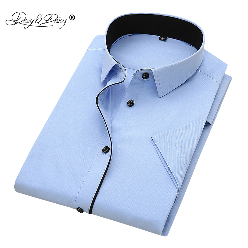 DAVYDAISY 2019 New Summer Men Shirt Short Sleeved Fashion Solid Twill Male Shirts Formal Business White Camisa Masculina DS249