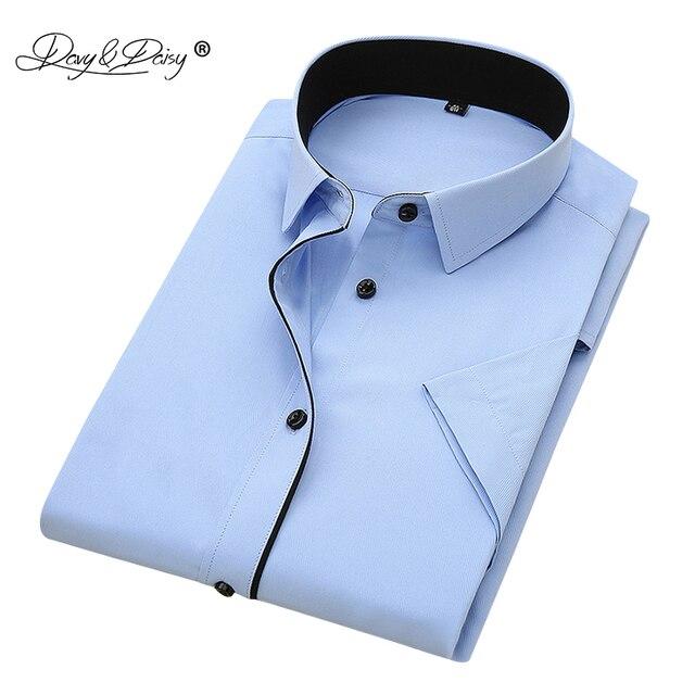 DAVYDAISY 2019 新しい夏のメンズシャツ半袖ファッション固体ツイル男性シャツフォーマルビジネスホワイトカミーサ masculina DS249