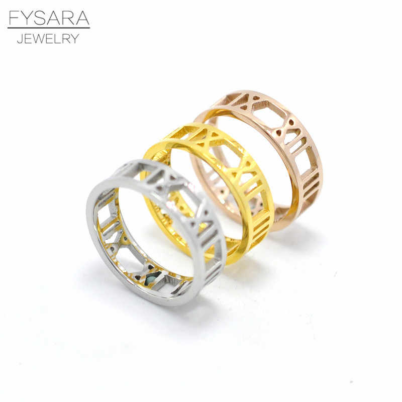 New Fashion Accessories Jewelry Hollow Roman Numerals Ring Finger Rose Gold-Color Stainless Steel ring For Women Love Ring Tail