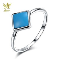 ANGG Real 925 Sterling Silver Ring With Geometric Blue Stone For Women Birthday Valentine S Day