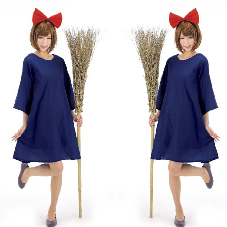 Women KiKis Delivery Service Cosplay Costumes Blue Dress Bowknot 2PCS Set Carnival Christmas Costumes Halloween Cos Costumes