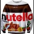 Harajuku стиль новая мода 2014 осенние мужчины/женская 3D толстовка печати nutella шоколад забавный пуловер с капюшоном