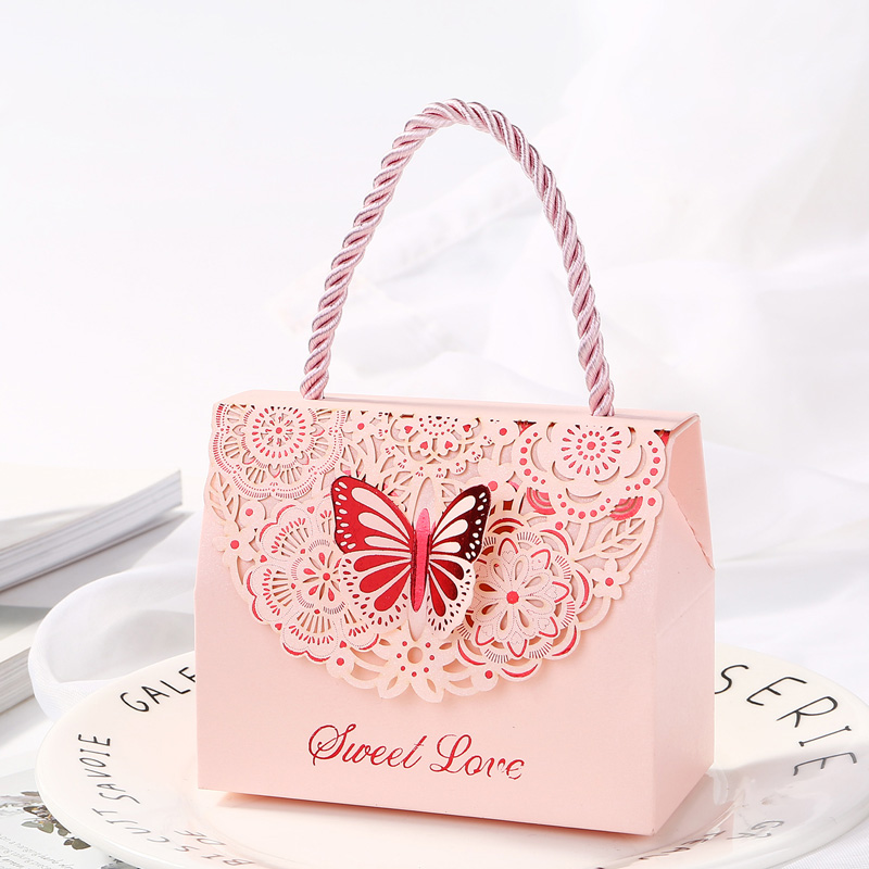 10pcs/lot Golden butterfly candy Bag Tote bag gift box Package Wedding Favor Gift Boxes thank you Gift birthday Party Favor Bags