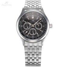 KS 6 Manos de Acero Inoxidable Completo Reloj de Pulsera Automático Fecha Día 24 Exhibición de la hora Reloj Masculino Ocasional de Los Hombres Viento Del Uno Mismo Reloj Mecánico/KS212